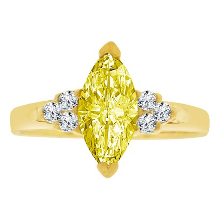 Simple Marquise - 14k Yellow Gold, Simple Classic Ring Created Color Marquise CZ Synthetic Nov Birthstones