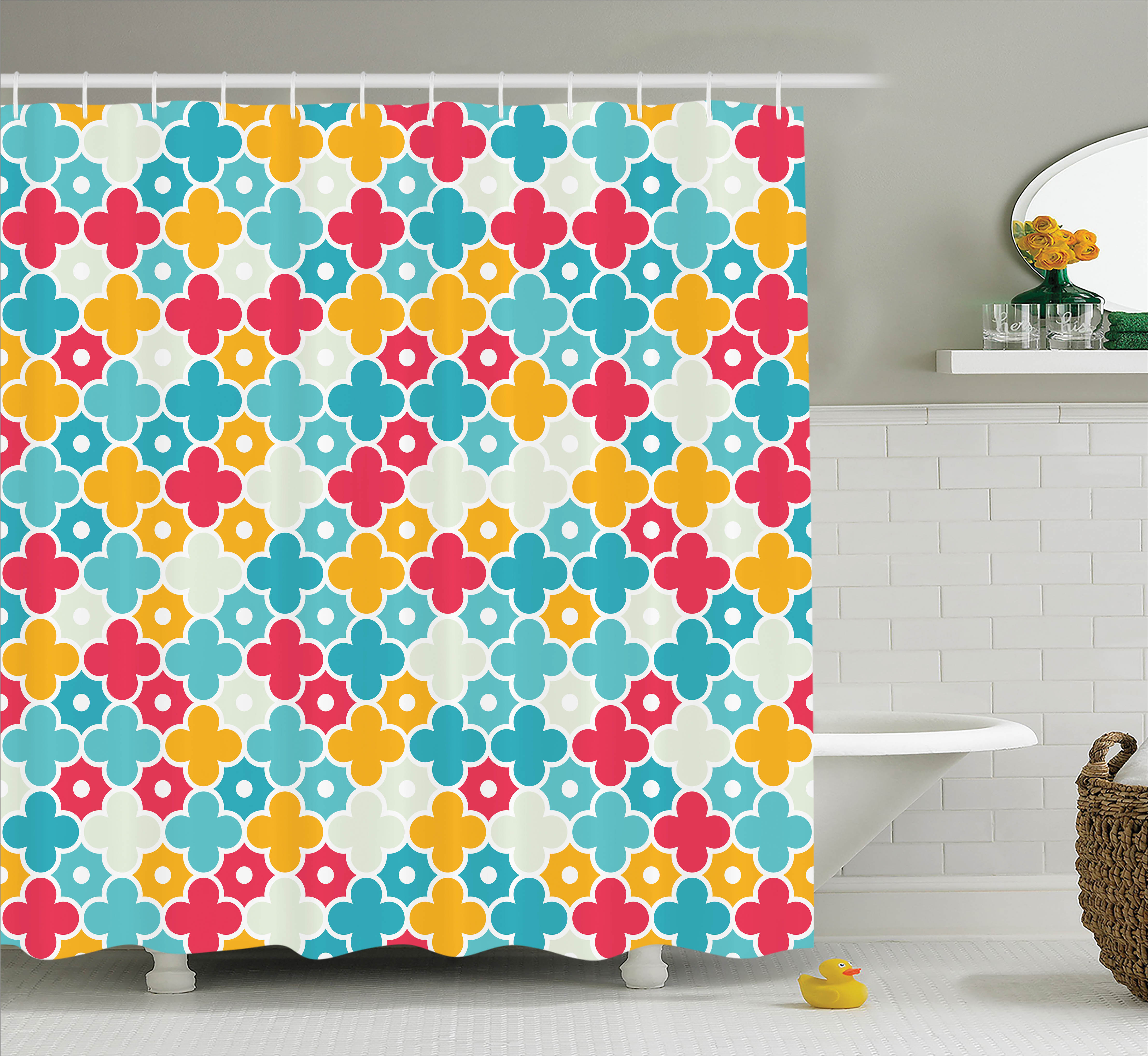 Quatrefoil Decor Shower Curtain, Kids Colorful Petal Clover Leaf Pattern Bohem Casual Kids Decor, Fabric Bathroom Set with Hooks, 69W X 75L Inches Long, Red Turquoise Yellow, by Ambesonne