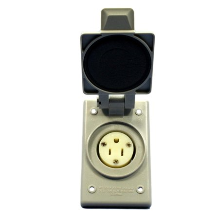 Leviton 5279-FWP Gray NEMA 5-15 15A 125V Industrial Flanged Outlet Receptacle With Weather Resistant (Industrial Receptacle Outlet)