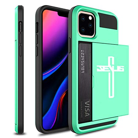 Wallet Credit Card ID Holder Shockproof Protective Hard Case Cover for Apple iPhone Jesus Cross (Teal-Green, for Apple iPhone 11)