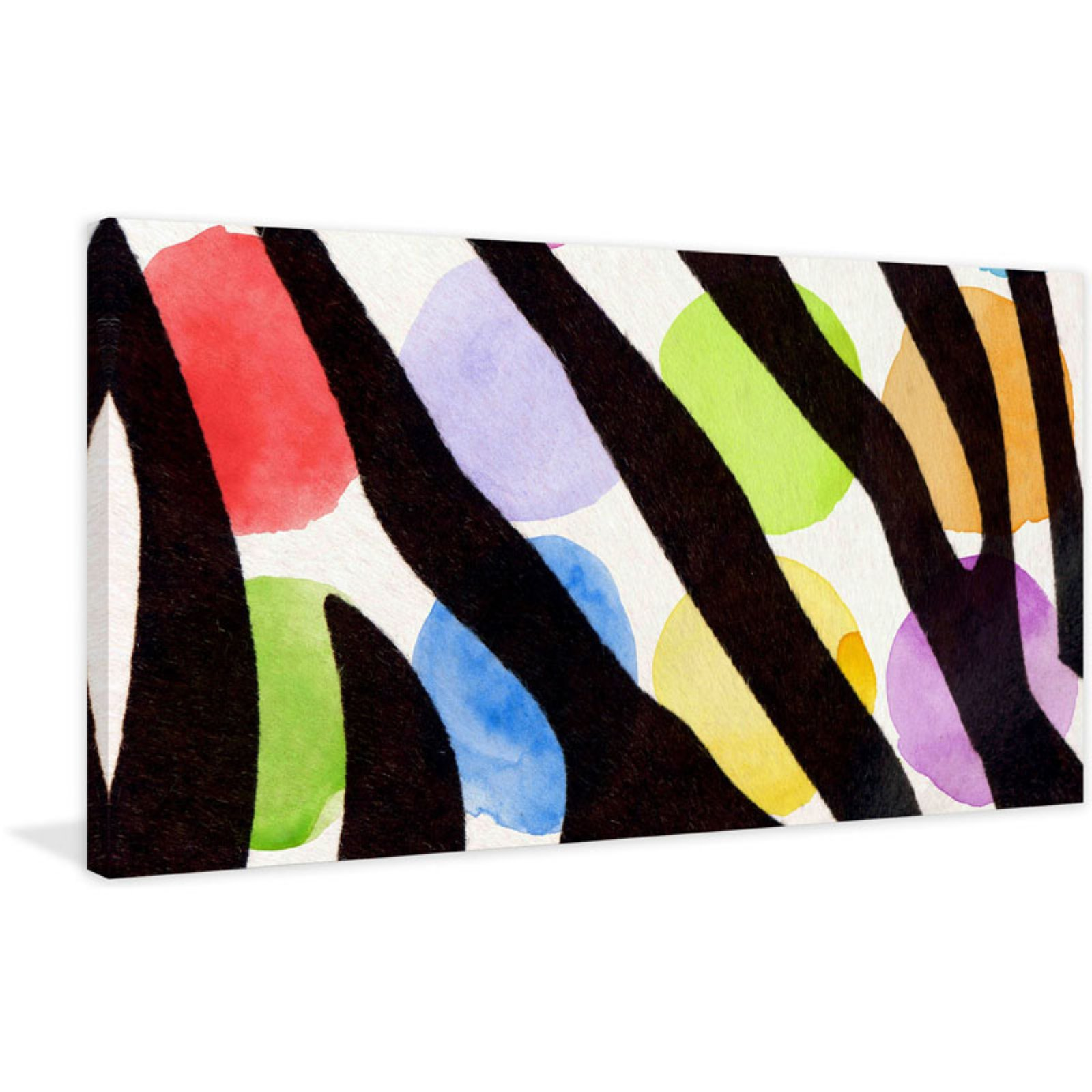 Marmont Hill Rainbow Zebra II v2 Painting Print on Wrapped Canvas