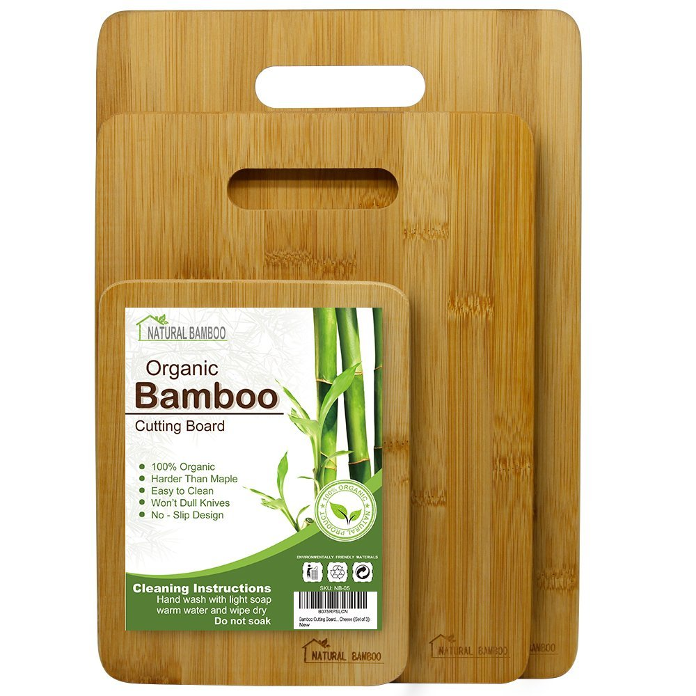 Bamboo Cutting Board [Set of 3], Natural Bamboo 100% Premium Organic; Cutting & Serving Board Set; Used for Cut Food Prep, Meat, Vegetables, Bread, Crackers & Cheese (Set of 3)