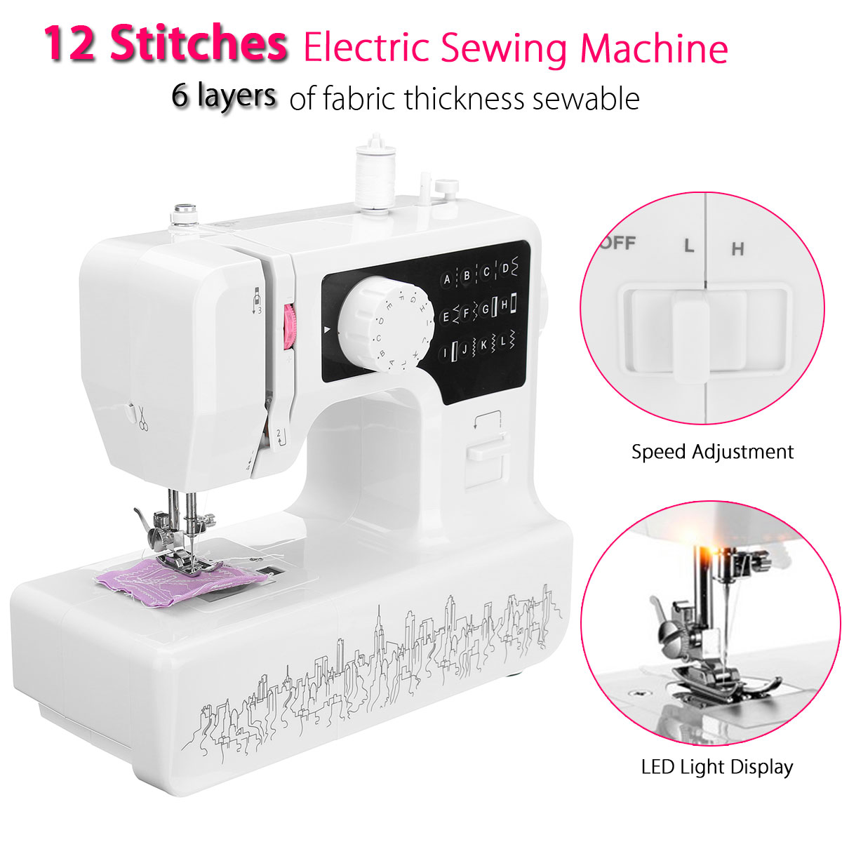 LED Handheld Electric Sewing Machine Quilting Multi-Function USB Household Desktop Kit