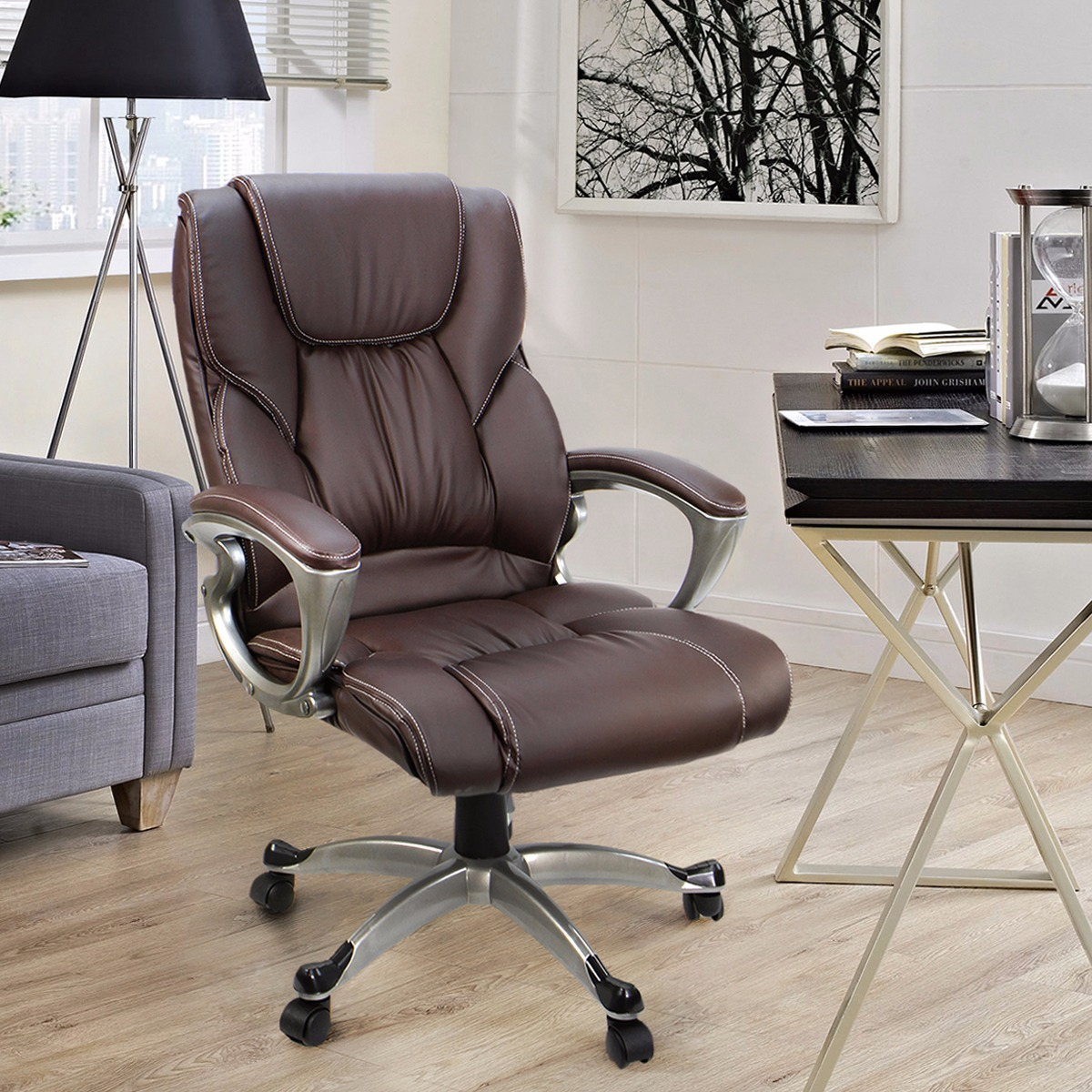 High Back Office Chair PU Leather Executive Ergonomic Swivel Lift, Brown