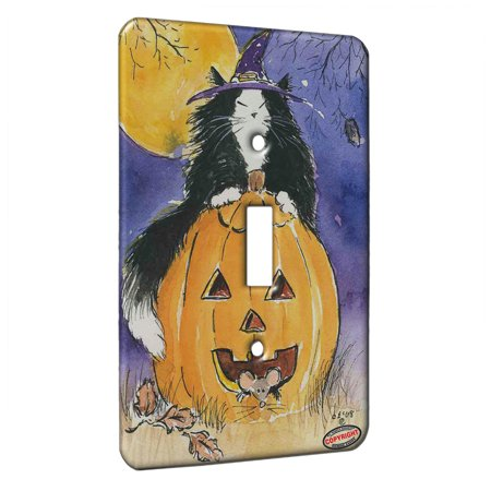 KuzmarK™ Single Gang Toggle Switch Wall Plate - Witchy Maine Coon Kitty with Jack O'Lantern and Mice Halloween Cat Art by Denise (Halloween Cat Jack O'lantern)