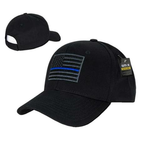 rapdom thin blue line embroidered operator mens cap [black - adjustable]