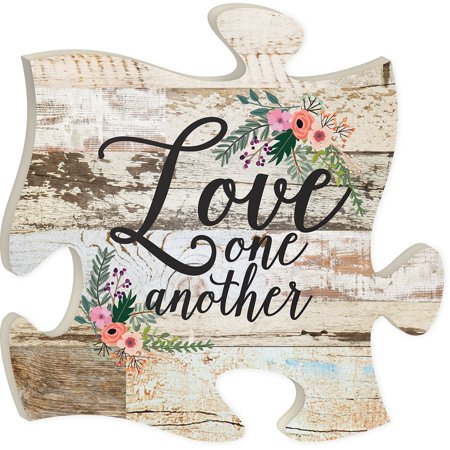 Love one another beautiful flower original wood home wall for Another word for food decoration