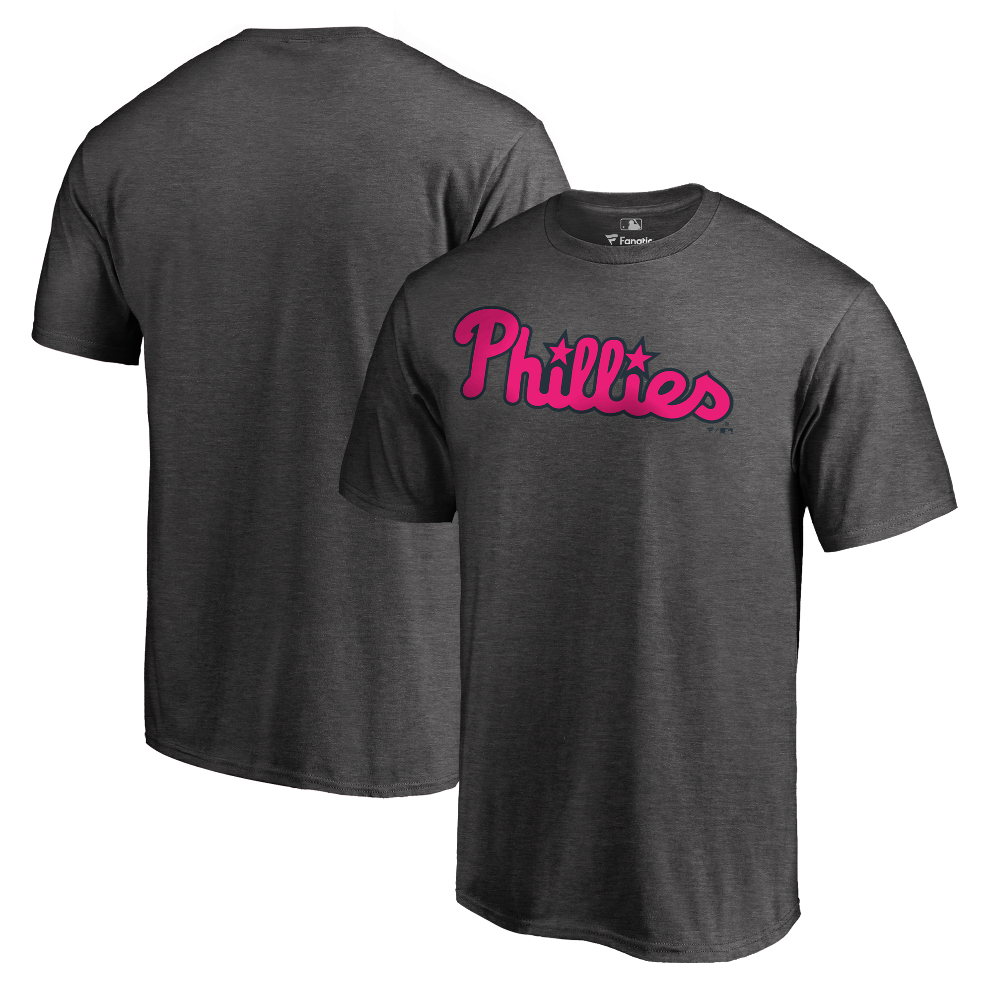 Philadelphia Phillies Fanatics Branded 2018 Mother's Day Pink Wordmark Big & Tall T-Shirt - Heather Gray