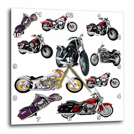 3dRose Wall Clock Picturing Harley-Davidson® Motorcycles Motorcycle Wall Clock