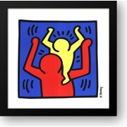 Untitled, 1987 (baby on shoulders) 24x24 Framed Art Print by Haring, Keith
