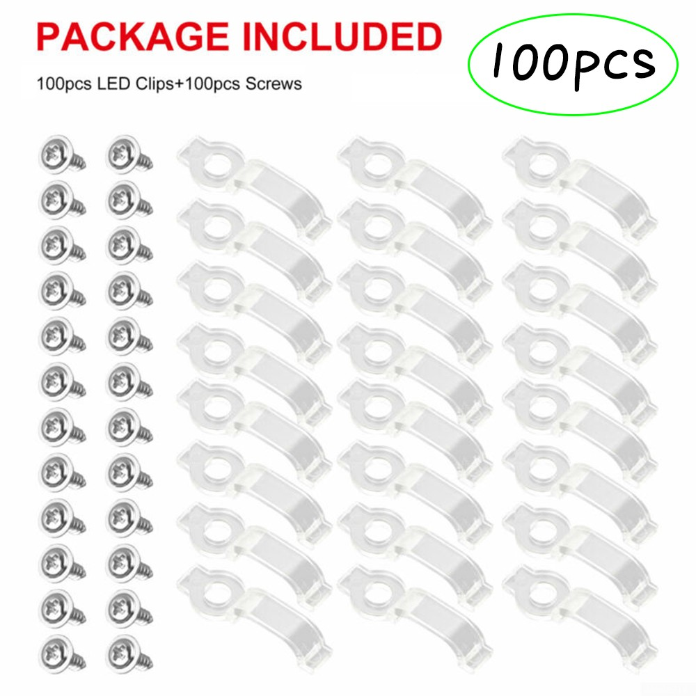 100Pcs//kit Mounting Bracket Clip Fastener For Fixing 5050 RGB LED Strip Lights