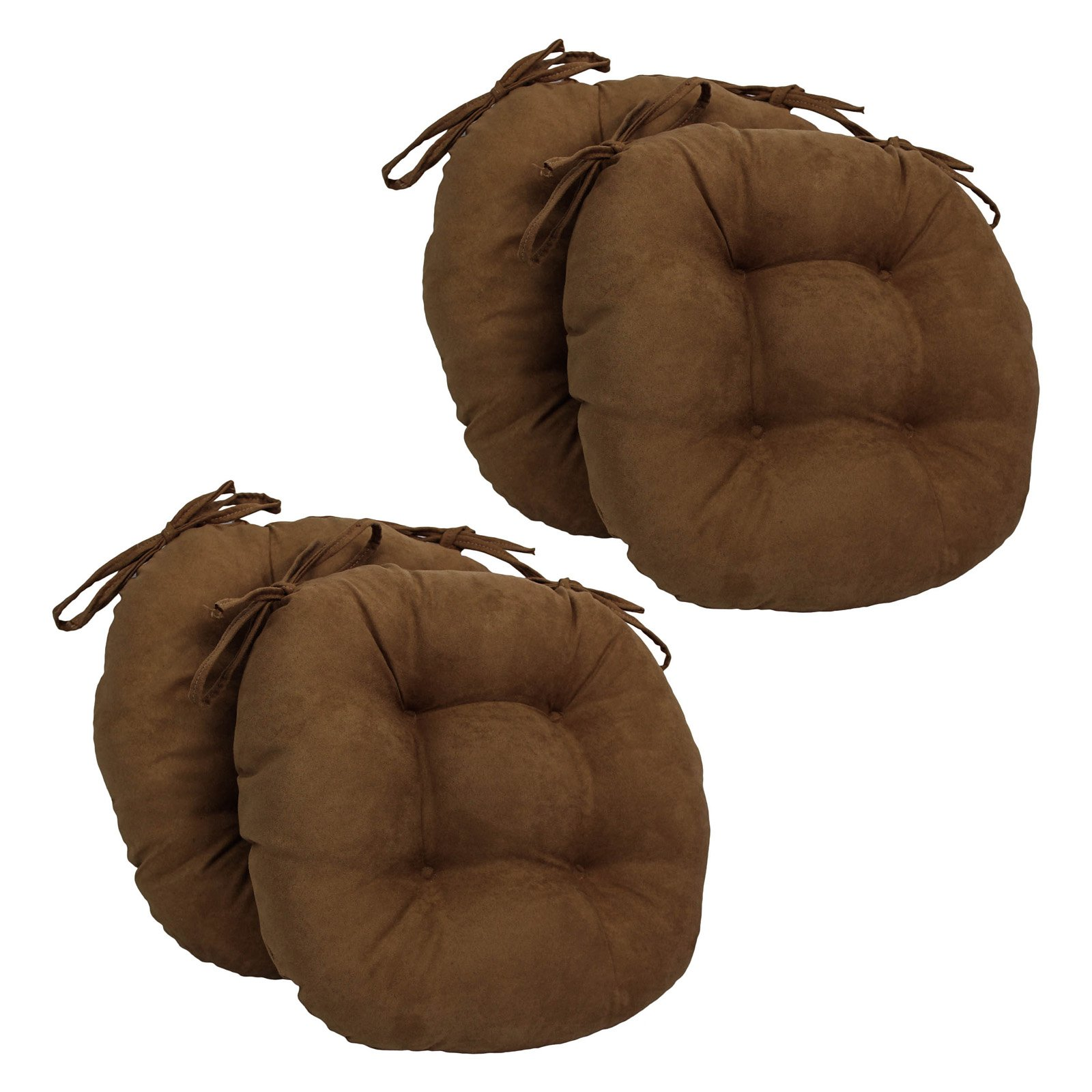 Blazing Needles 16 x 16 in. Round Micro Suede Dining Chair Cushions with Ties - Set of 4