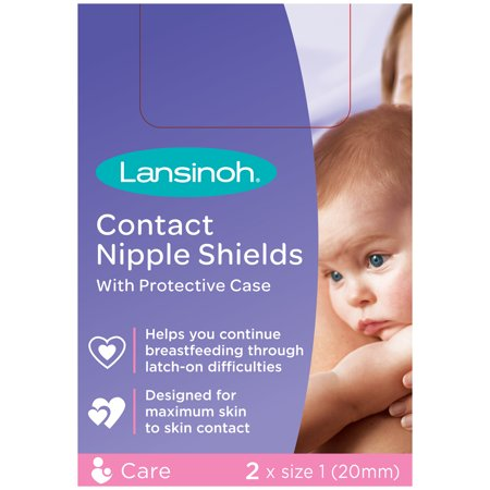 Lansinoh Contact Nipple Shield with case, 2 Count, 20mm Jeweled Nipple Shield