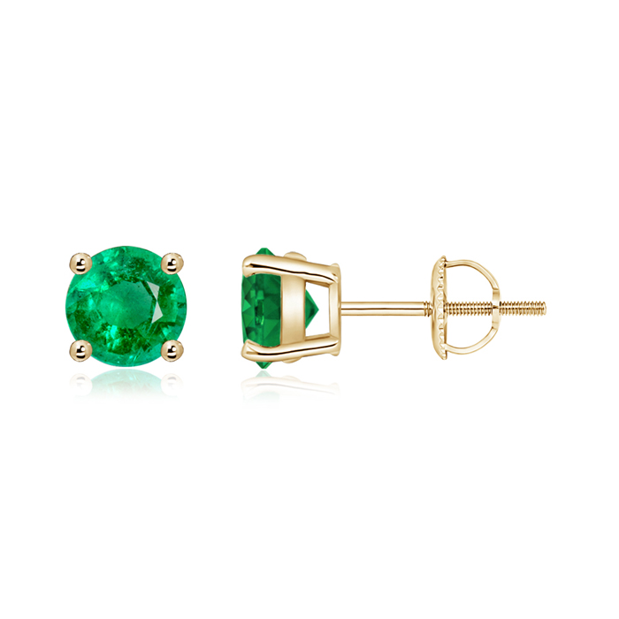 Angara Round Emerald Studs in Yellow Gold VvohM
