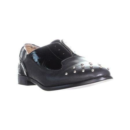 Womens XOXO Robyn Toe Studded Laceless Oxford Flats, Black, 7.5 US / 38.5