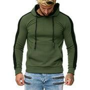 Men Stripe Splicing Button Pullover Long Sleeve Hooded Sweatshirt Tops Blouse