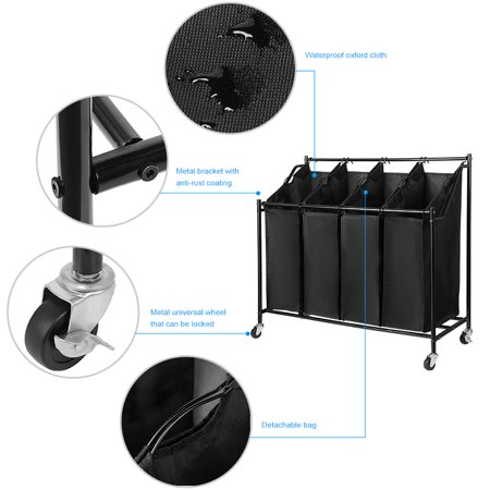 4-Bag Laundry Hamper Rolling Laundry Sorter Storage Cart with w/Removable Bags and Brake Casters, Black - image 8 of 10