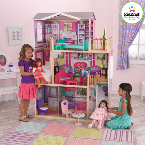 """KidKraft Elegant Wooden Doll Manor with 12 Pieces of Furniture for 18"""" Dolls"""