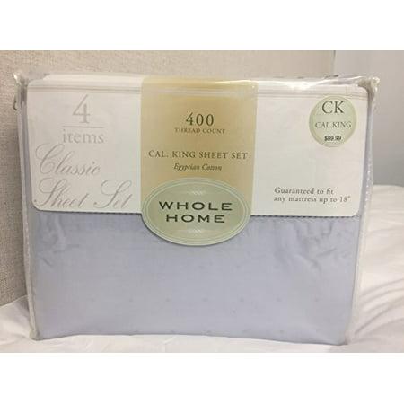 Whole Home Classic Sheet Set, 400 TC, Egyptian Cotton, California King, Light Blue w/Dobby Dots and