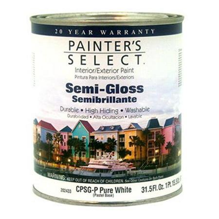 Acrylic Interior Latex (CPSGP Painters Select Quart Pastel Base Tintable White Interior Exterior Semi-Gloss Acrylic Latex Paint )