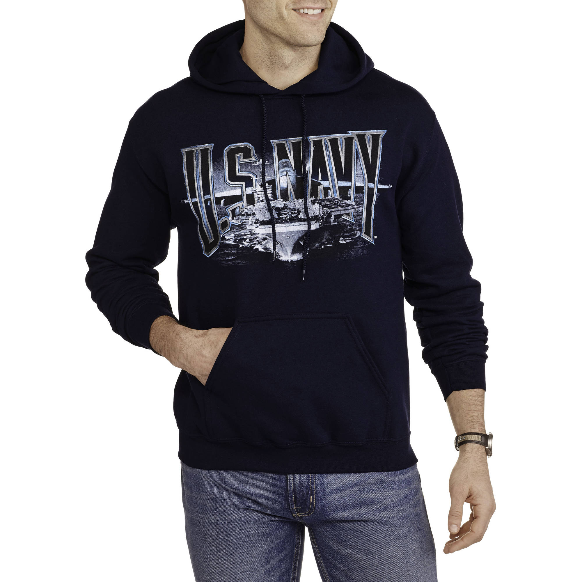 Big Men's Military Officially Licensed Navy Fleece Action Hoodie, 2XL