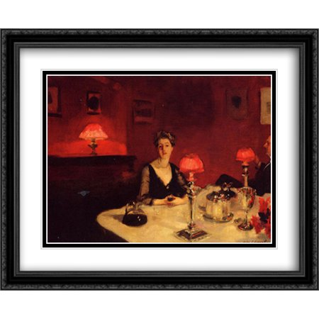 A Dinner Table at Night 2x Matted 34x28 Large Black Ornate Framed Art Print by Sargent, John Singer