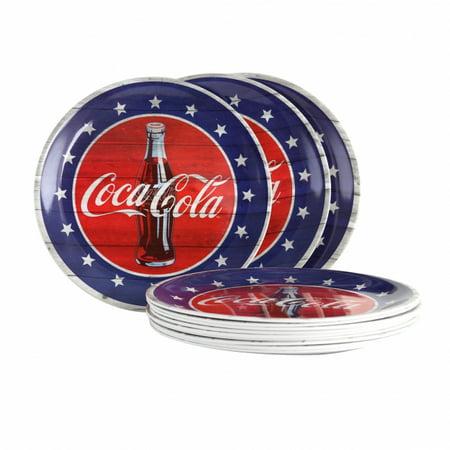 Coca-Cola Americana 10.5 in. Blue Dinner Plate, Set of 12