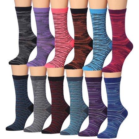 Tipi Toe Women's 12-Pairs Ministripe & Striped Colorblock Colorful Work Fashion Crew Dress Socks, (sock size 9-11) Fits shoe size 5-9, WC84-AB Orange Striped Toe Socks