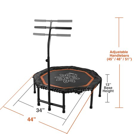 "Xspec 44"" Silent Fitness Mini Trampoline with Adjustable Handrail Bar, Black/Orange 