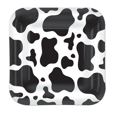 Pack of 96 Disposable Black and White Cow Print Square Dessert Plates - Cow Plates