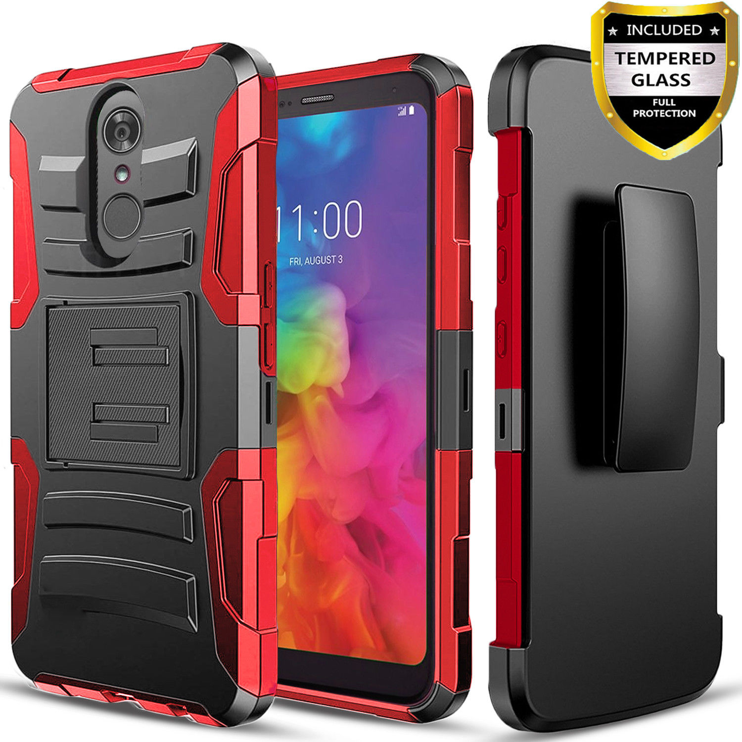 huge discount 3068a 70dd0 LG Q7 Case, LG Q7 Plus, [Combo Holster] Case And Built-In Kickstand  with[Glass Protector]And Stylus(Black)