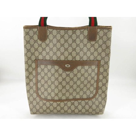 e9885a4a982b Gucci - PRE-OWNED Sherry Supreme Monogram Gg Web Large Shopping 869742  Brown Coated Canvas Tote - Walmart.com