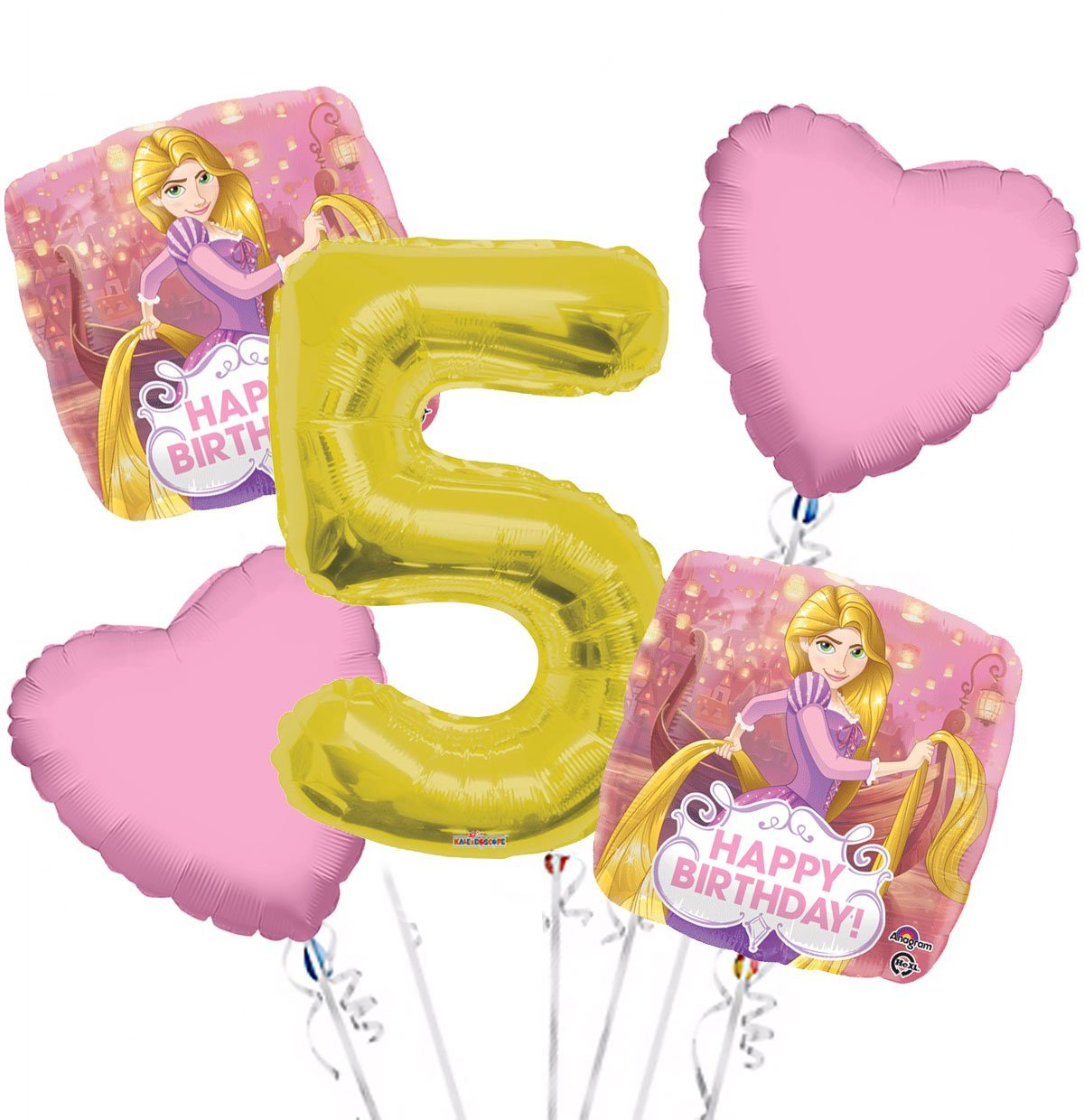 Rapunzel Balloon Bouquet 5th Birthday 5 pcs - Party Supplies Gold, 1 Giant Number 5 Balloon, 34in By Viva Party