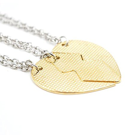 AOLO 3 Parts Best Bitches Split Heart Friendship Necklaces Golden