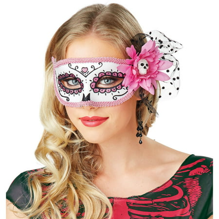 Day Of Dead Pink Mask Halloween Costume Accessory - Day Of The Dead Halloween Masks