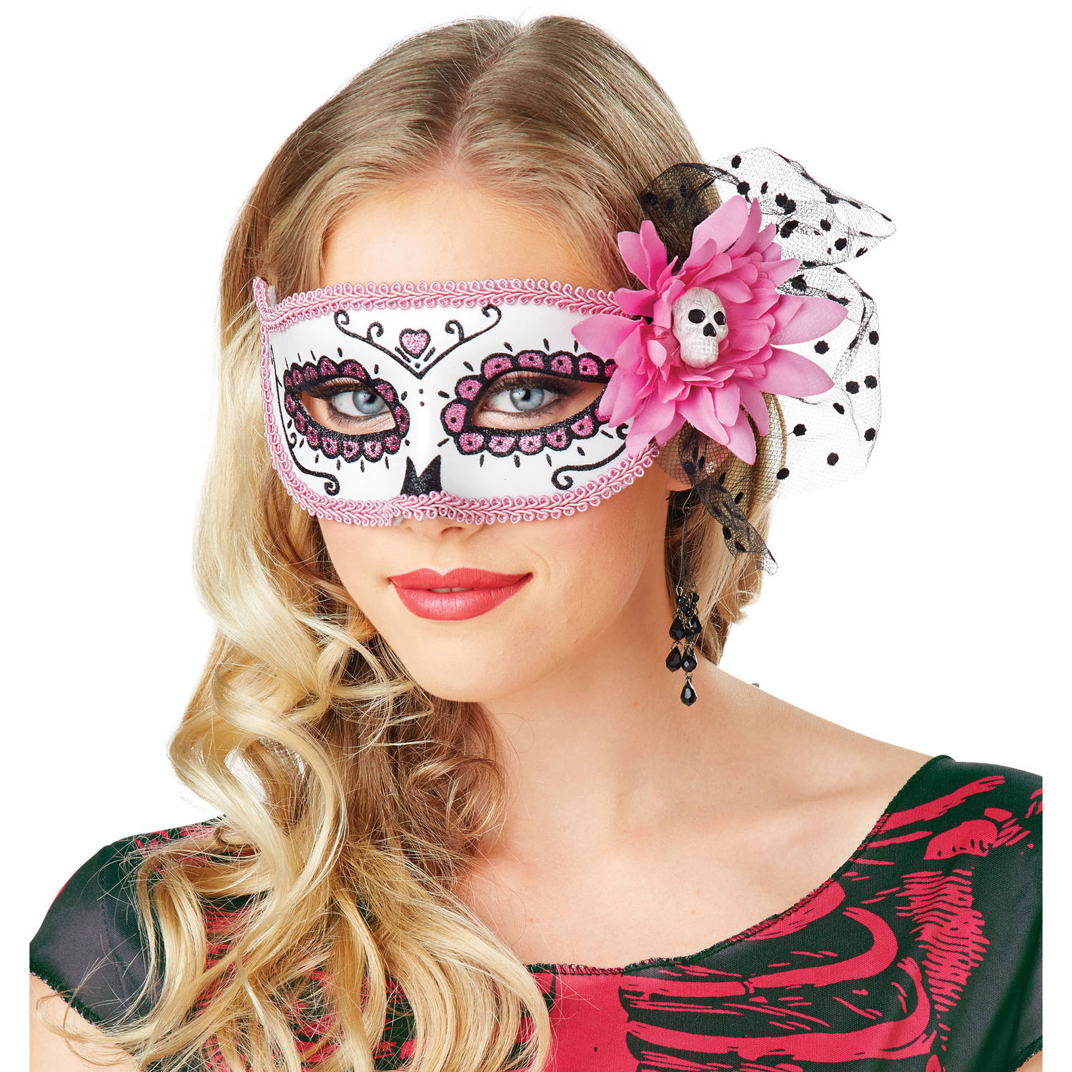 Day Of Dead Pink Mask Halloween Costume Accessory