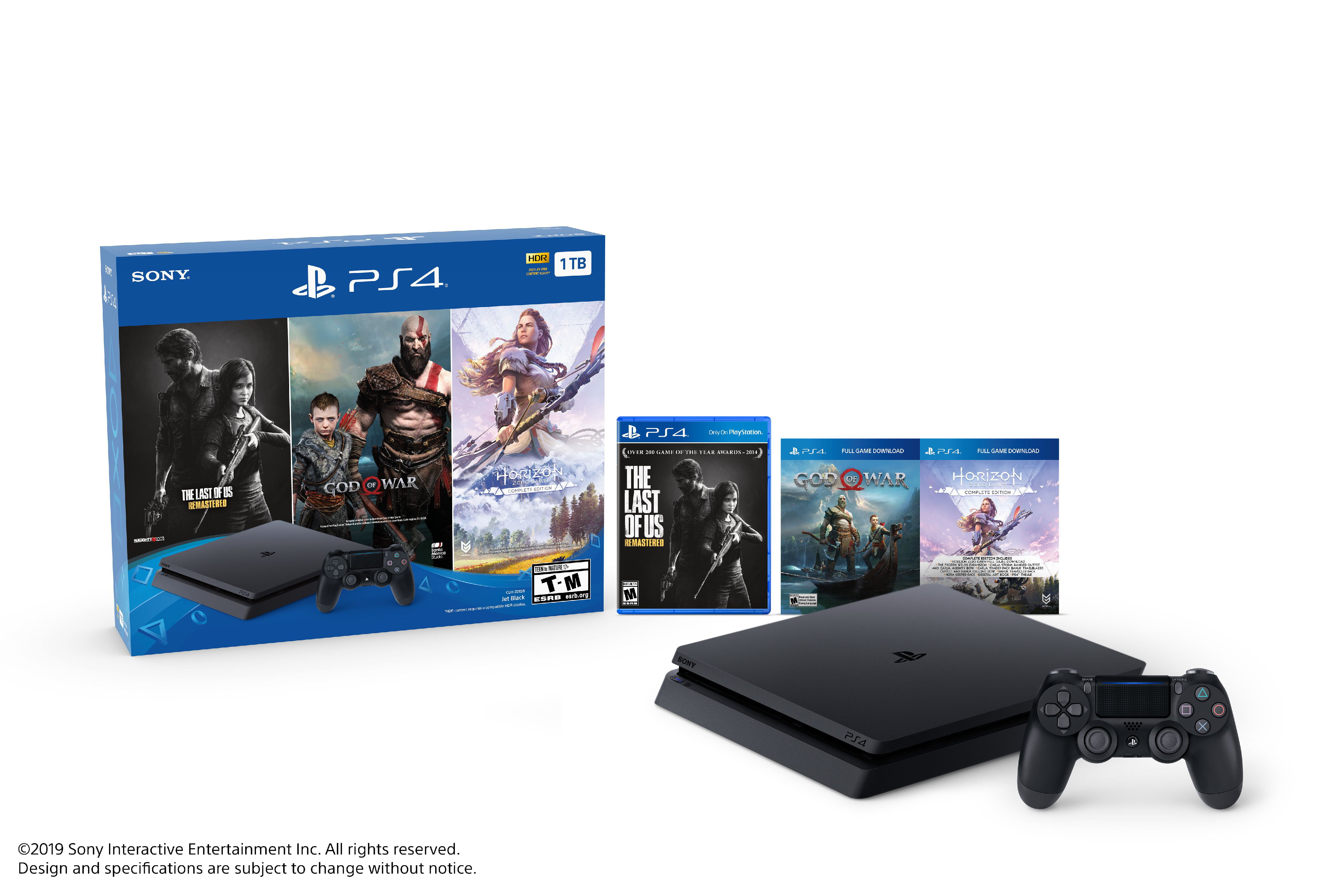 Sony Playstation Slim 4 1tb Only On Playstation Ps4 Console Bundle Black Walmart Com Walmart Com