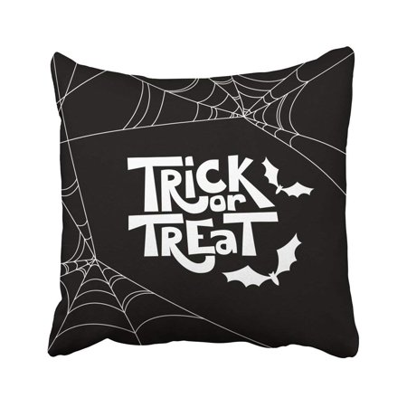 Halloween Letters Black And White (ARTJIA Flat Trick Treat Quote And Halloween Holiday Black And White Doodle Letters Bat Pillowcase Cover 20x20)