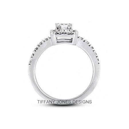 1.25ct tw J-SI2 Exc-Cut Princess AGI Natural Diamonds 14k Halo Classic Ring 6.8g