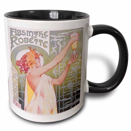 3dRose Vintage Absinthe robette French Wine Advertising Poster, Two Tone Black Mug, 11oz