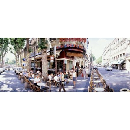 Group of people at a sidewalk cafe Paris France Canvas Art - Panoramic Images (15 x 6) - French Cafes Paris