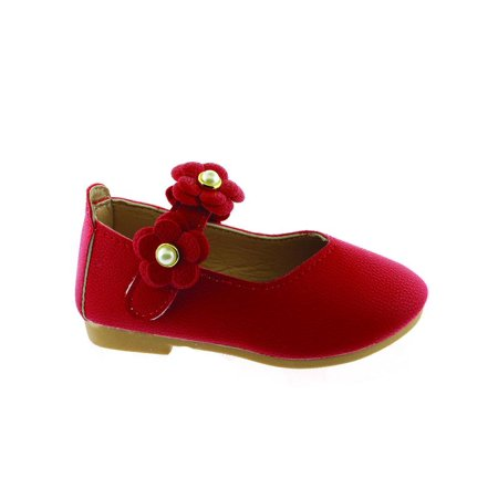Kate Little Girls Red Flower Pearl Strap Mary Jane Shoes (Flower Girl Satin Shoes)