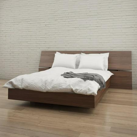 - Nexera Cartel Platform Bed with Panoramic Headboard, Walnut