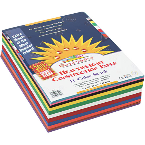 SunWorks Construction Paper Smart-Stack, 9 x 12, Assorted, 300 Sheets/Pack