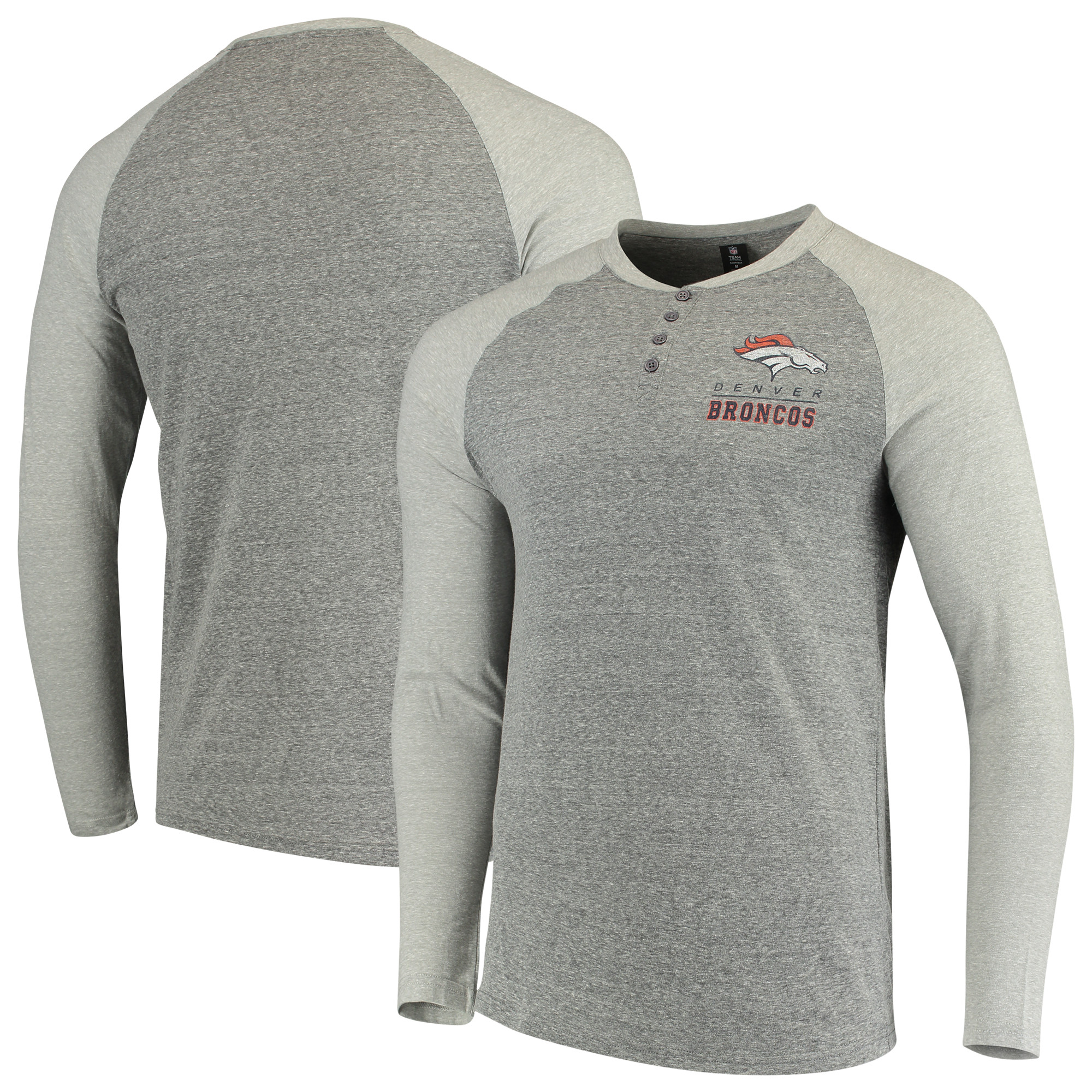 Denver Broncos Concepts Sport Homestretch Henley Raglan Long Sleeve T-Shirt - Heathered Gray/Ash - 2XL