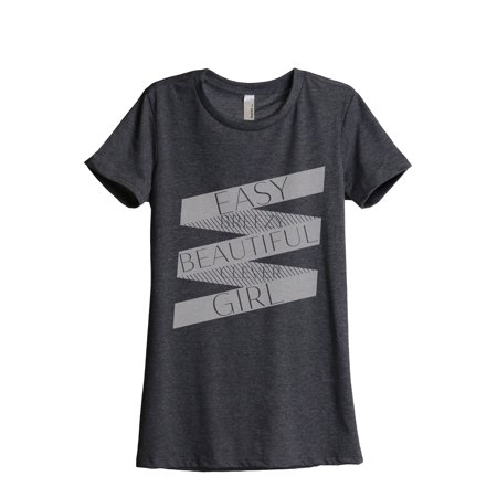 Easy Breezy Beautiful Clever Girl Women's Fashion Relaxed T-Shirt Tee Charcoal Grey Small