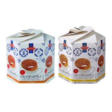 Honey Wafers (Daelmans Stroopwafels Combo Caramel & Honey Wafers Hex 8.11 Oz. Each (Pack of 2))