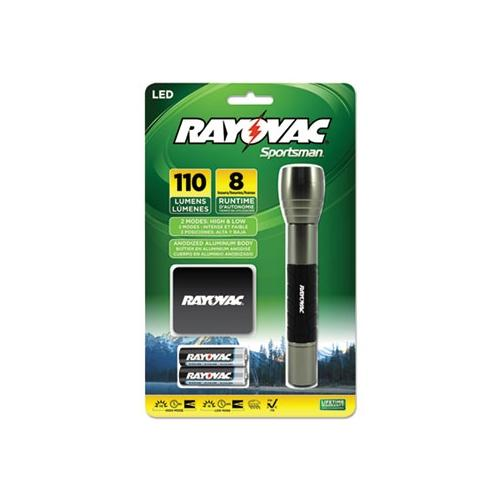 Rayovac Sportsman Flashlight, Holster, Black/Metallic Sage, 2 AA SP2AA-B