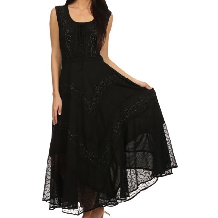 Black Corset Dress With Tutu (Sakkas Azalea Stonewashed Rayon Embroidery Corset Style Dress - Black -)