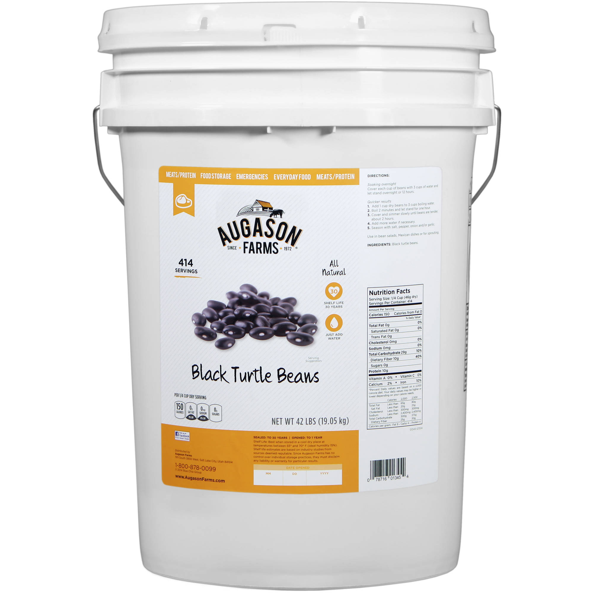 Augason Farms Emergency Food Black Turtle Beans, 42 lb